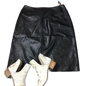 Jones New York Black Leather A-Line Skirt